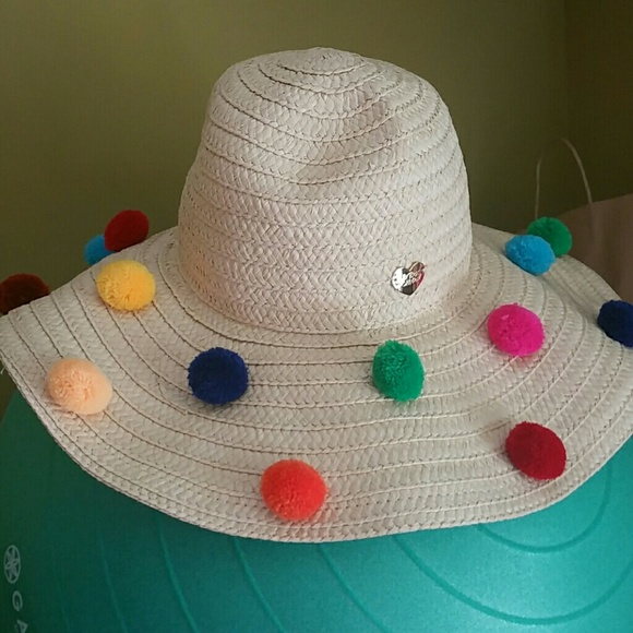 Straw hat with pom poms. NWT. Betsey Johnson c688adcc1e80